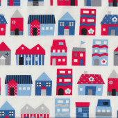 Blue Red Homes Houses on White Fabric