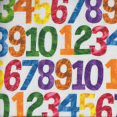 Colourful Numbers on White Quilting Fabric