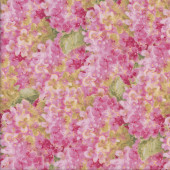 Pink Hydrangea Flowers Floral Quilting Fabric