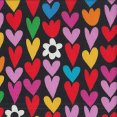 Colourful Love Hearts Flowers on Black Quilting Fabric