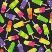 Colourful Rainbow Ice Blocks on Black Food Kids Quilting Fabric