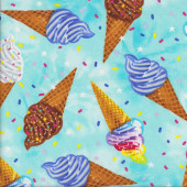 Delicious Coloured Icecream Cones on Blue Quilting Fabric