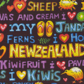 I Love New Zealand Jandals Sheep Kiwi Words NZ Quilting Fabric