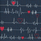 Nurses EKG Heartbeat Quilting Fabric