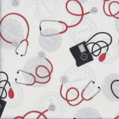 Nurses Stethoscope Quilting Fabric