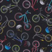 Bicycles Black Quilting Fabric