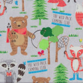 Camping Club Grey Quilting Fabric