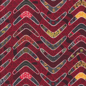 Aboriginal Design Boomerangs Red Goanna Walkabout Quilting Fabric