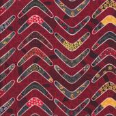 Aboriginal Design Boomerangs Red Goanna Walkabout Quilting Fabric