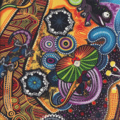 Colourful Aboriginal Goanna Walkabout Lizards Quilting Fabric