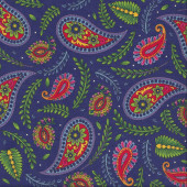 Imperial Paisley Ferns on Purple Blue Quilting Fabric
