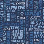 Indigo Coastal Beach Sun Surf on Navy Quilting Fabric