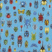 Insects Bugs Beetles Ladybirds Butterflies on Blue Quilting Fabric