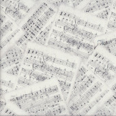 Sheet Music Notes Interlude on White Musical Quilting Fabric