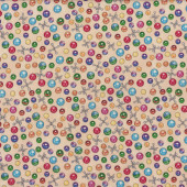 Jacks Marbles on Tan Where the Toys Are Boys Kids Quilt Fabric