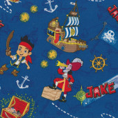 Jake and The Neverland Pirates Blue Kids Licensed Quilt Fabric