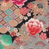 Japanese Flowers on Black with Metallic Gold Quilting Fabric
