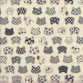 Japanese Navy Cats on Cream Asian Oriental Quilting Fabric