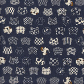 Japanese Cream Cats on Navy Asian Oriental Quilting Fabric