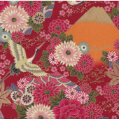 Japanese Asian Oriental Flowers Cranes on Red Quilting Fabric