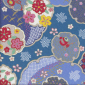 Japanese Oriental Floral Design with Metallic Gold on Blue Quilting Fabric