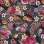 Japanese Fans with Flowers Quilting Fabric