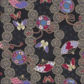 Japanese Fans Butterflies on Black with Metallic Gold Quilting Fabric
