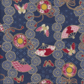 Japanese Fans Butterflies on Navy with Metallic Gold Quilting Fabric