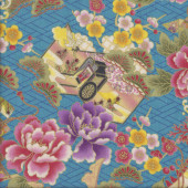 Japanese Camelias Sakura on Blue Oriental Asian Quilting Fabric