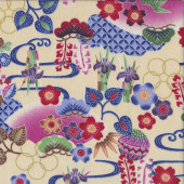 Japanese Flowers on Dark Cream Iris Sakura Quilting Fabric