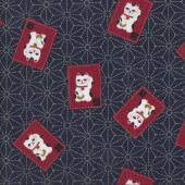 Japanese Lucky Cats on Navy Quilting Asian Fabric
