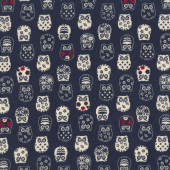 Japanese Owls on Navy Asian Oriental Quilting Fabric Quilting Fabric