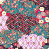 Japanese Oriental Design with Metallic Gold Flowers Quilting Fabric