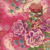 Japanese Pink Red Flowers Lanterns on Blue with Metallic Gold Quilting Fabric