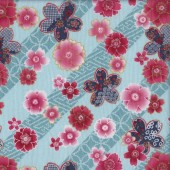 Japanese Pink Flowers Quilting Fabric