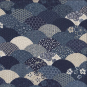 Japanese Blue and White Traditional Scallop Design Quilting Fabric