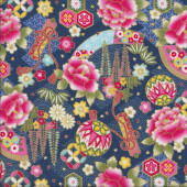 Japanese Flowers Fans with Metallic Gold on Blue Asian Oriental Quilting Fabric