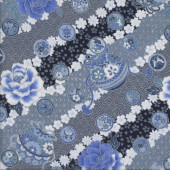 Japanese Oriental Blue Flowers with Metallic Silver Quilting Fabric