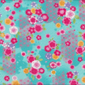 Japanese Asian Flowers Design on Aqua Seersucker Cotton Fabric
