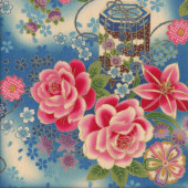 Japanese Purple Flowers Lanterns on Red with Metallic Gold Quilting Fabric