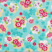 Japanese Asian Floral Design on Aqua Seersucker Cotton Fabric
