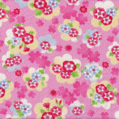 Japanese Asian Floral Design on Pink Seersucker Cotton Fabric