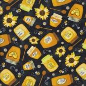 Jars of Honey on Black Sunflowers Bee Queen Bee Quilting Fabric