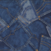 Denim Jeans Pockets Design Fabric