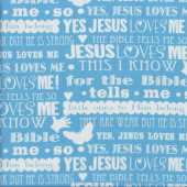 Jesus Loves Me Religion Christian on Blue Quilting Fabric