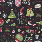 Jingle All The Way on Black Christmas Trees Stockings Quilting Fabric