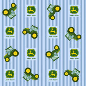 John Deere Tractors on Blue Ticking Pattern Boys Farm Quilting Fabric