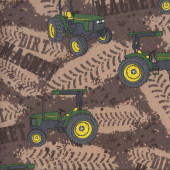 John Deere Tractors on Brown Quilting Fabric