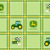 John Deere Tractors on Green Plaid Cows Boys Farm Quilting Fabric