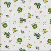 John Deere Small Tractors Pig Sheep on White Kids Quilting Fabric